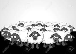 A cartoon of a herd of sheep